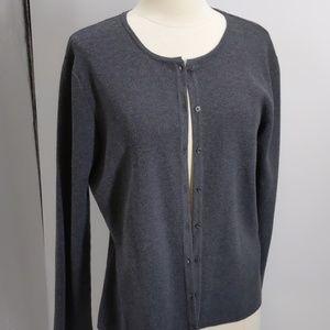 Jaclyn Smith Classic gray cardigan sweater-sz L